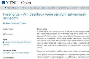 Fosenbrua - Vil Fosenbrua være samfunnsøkonomisk lønnsom?