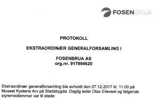 Ekstraordinær generalforsamling Fosenbrua 07-12-17