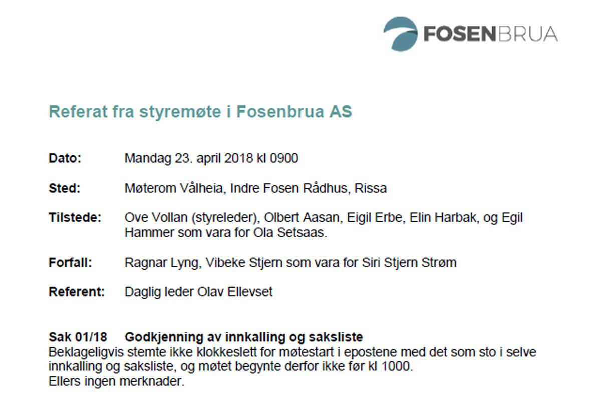 Styremøte Rissa 23-04-18