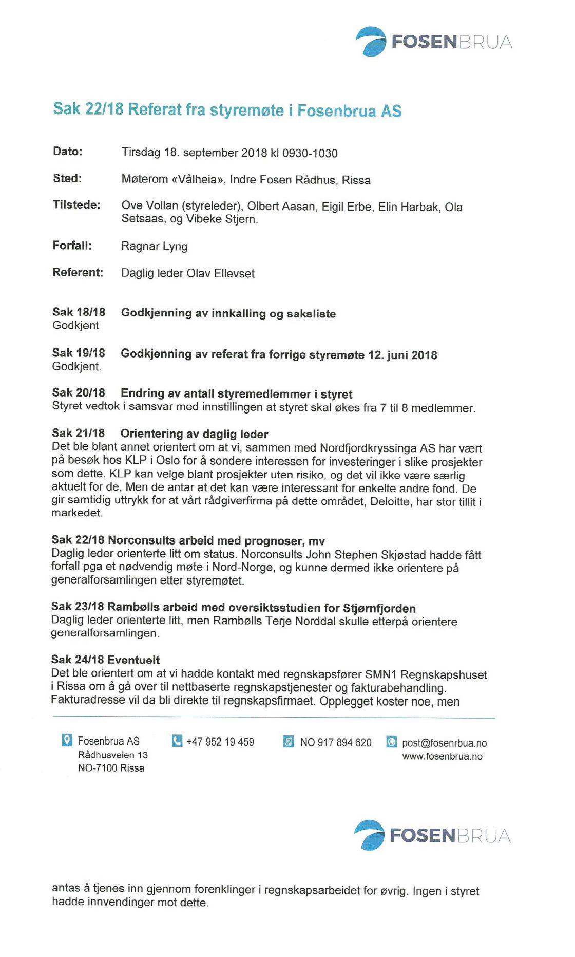 Referat fra styremøte i Fosenbrua AS 18-09-18