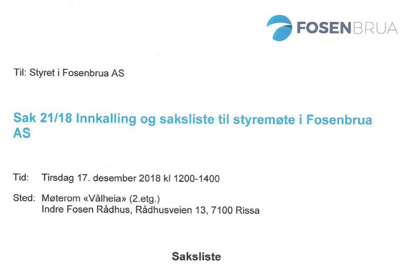 Styremøte Fosenbrua 17-12-18